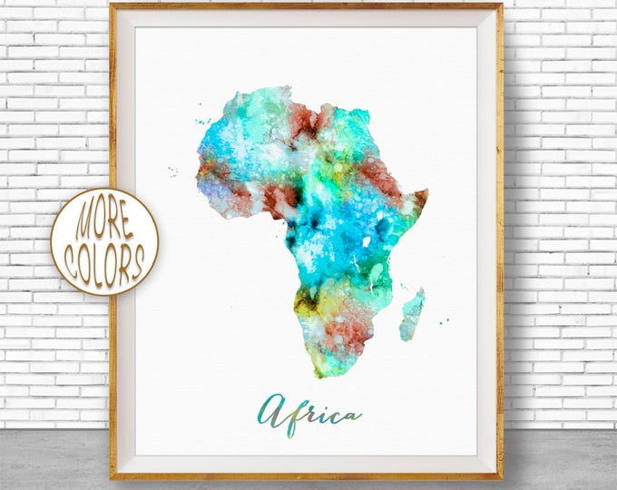 Africa Print Africa Map Africa Continent Map of Africa Map Wall Art Print Travel Map Travel Decor Office Decor Office Wall ArtGift for Women