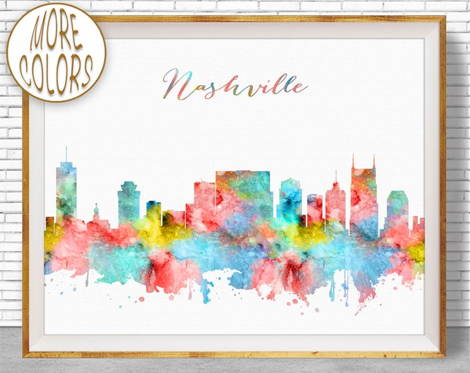 Nashville Skyline Nashville Art Nashville Print Nashville Tennessee Office Decor City Skyline Prints ArtPrintZone