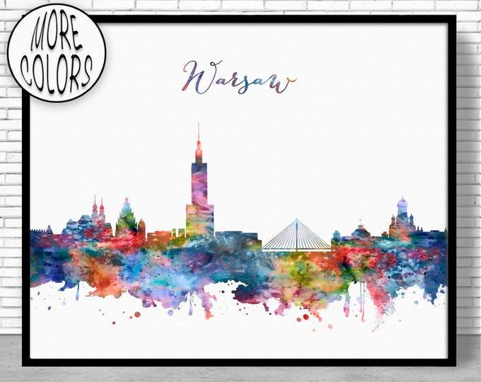 Warsaw Print, Warsaw Skyline, Warsaw Poland, Office Wall Art, City Skyline Prints, Skyline Art, Cityscape Art, ArtPrintZone