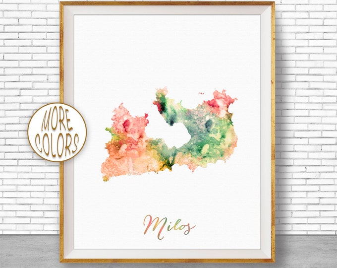 Milos Map Art Milos Greece Milos Print Watercolor Map Map Painting  Office Decorations Country Map ArtPrintZone