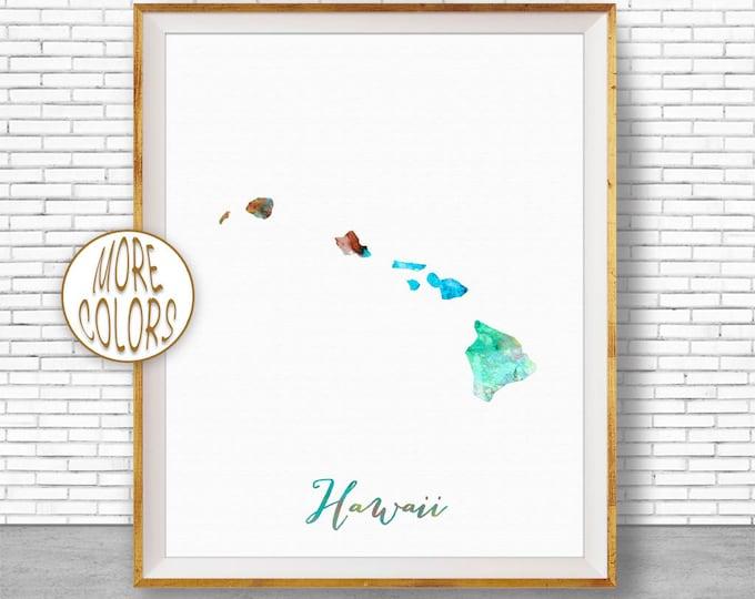 Hawaii State Hawaii Decor Hawaii Print Hawaii Map Art Print Map Artwork Map Print Map Poster Watercolor Map ArtPrintZone Christmas Gifts