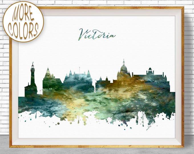 Victoria Print, Victoria Skyline, Victoria British Columbia, Office Wall Art, City Skyline Prints, Skyline Art, Cityscape Art, ArtPrintZone