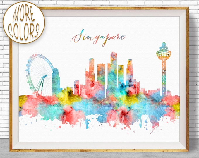 Singapore Print, Singapore Skyline, Singapore Art, Office Wall Art, City Skyline Prints, Skyline Art, Cityscape Art, ArtPrintZone