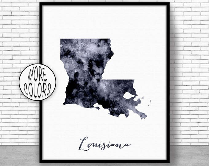Louisiana Art Print Louisiana Decor Louisiana Print Louisiana Map Art Print Map Artwork Map Print Map Poster Watercolor Map ArtPrintZone