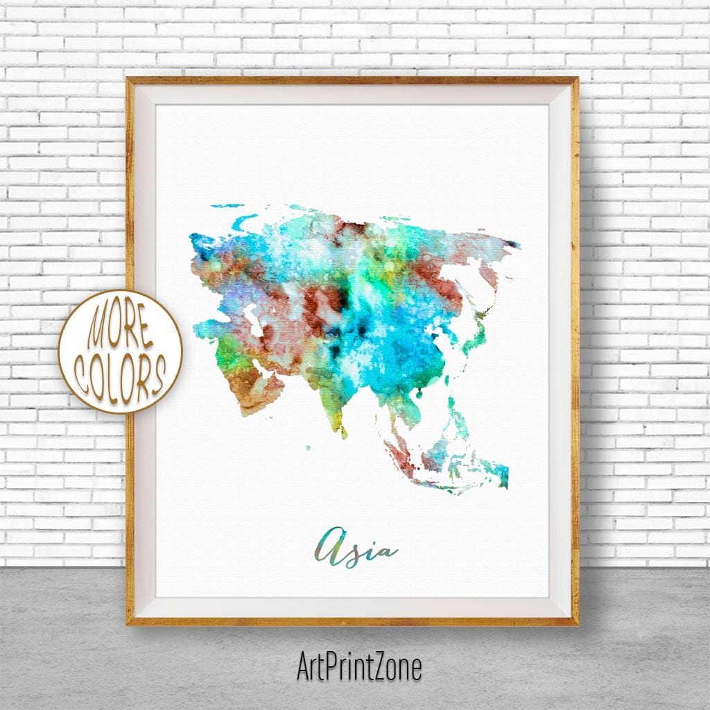 Map Of Asia To Print.Asia Print Asia Map Asia Continent Map Of Asia Map Wall Art Print