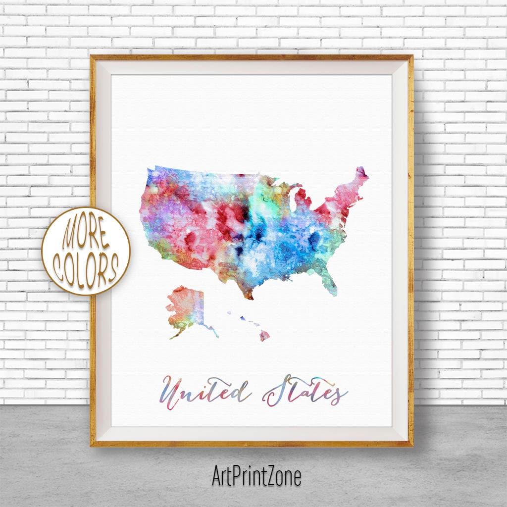Print Map Of Usa.Map Of Usa Map Art Print United States Map Usa Decor Office Print