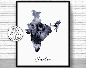 India Print India Art Print Watercolor Print India Map Decor Wall Art Prints ArtPrintZone