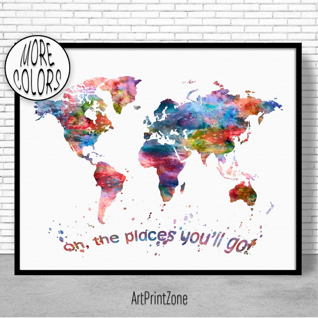 World map print oh the places youll go world map wall art world world map print oh the places youll go world map wall art world print world map postertravel art prints artprintzone christmas gifts gumiabroncs Choice Image