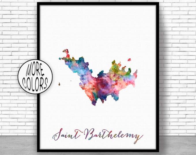 Saint Barthelemy Art Print Office Art Print Watercolor Map Print Map Art Map Artwork Office Decorations Country Map ArtPrintZone