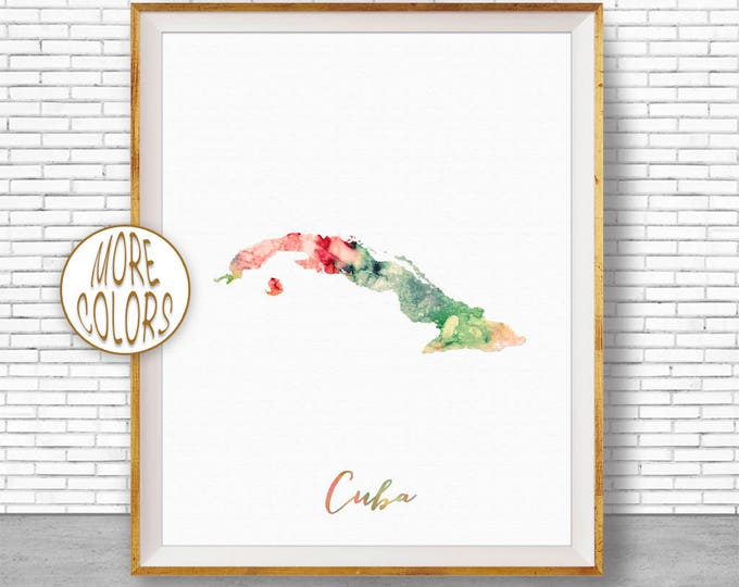 Cuba Art Print Cuba Print Office Art Print Watercolor Map Cuba Map Print Map Art Office Decorations Country Map ArtPrintZone