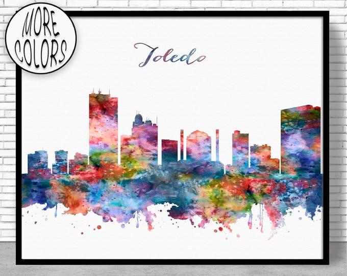 Toledo Skyline Toledo Print Toledo Ohio City Wall Art Office Decor City Skyline Prints Skyline Art ArtPrintZone