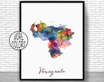 Venezuela Art Venezuela Print Office Art Print Watercolor Map Venezuela Map Print Map Art Office Decorations Country Map ArtPrintZone