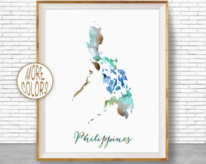 Country maps color philippines map philippines print philippines art print watercolor print wall art prints artprintzone publicscrutiny Images