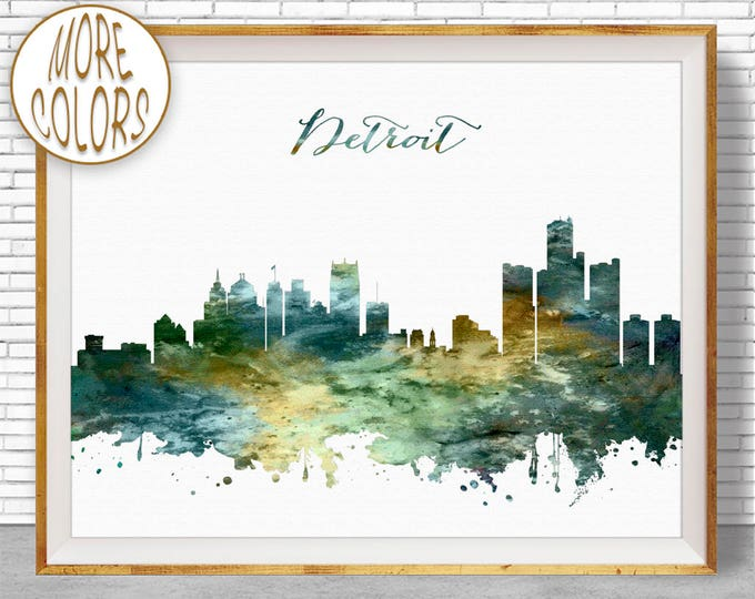 Detroit Print Detroit Skyline Detroit Michigan Office Gifts City Wall Art Watercolor Skyline Watercolor City Print ArtPrintZone
