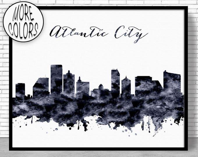 Atlantic City Print Atlantic City Skyline New Jersey Office Decor Office Art Watercolor Skyline Watercolor City Print ArtPrintZone