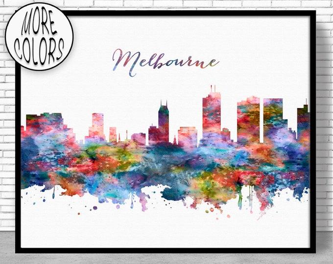 Melbourne Print Melbourne Australia Melbourne Skyline City Skyline Prints City Skyline Art Office Wall Art ArtPrintZoneGift for Women