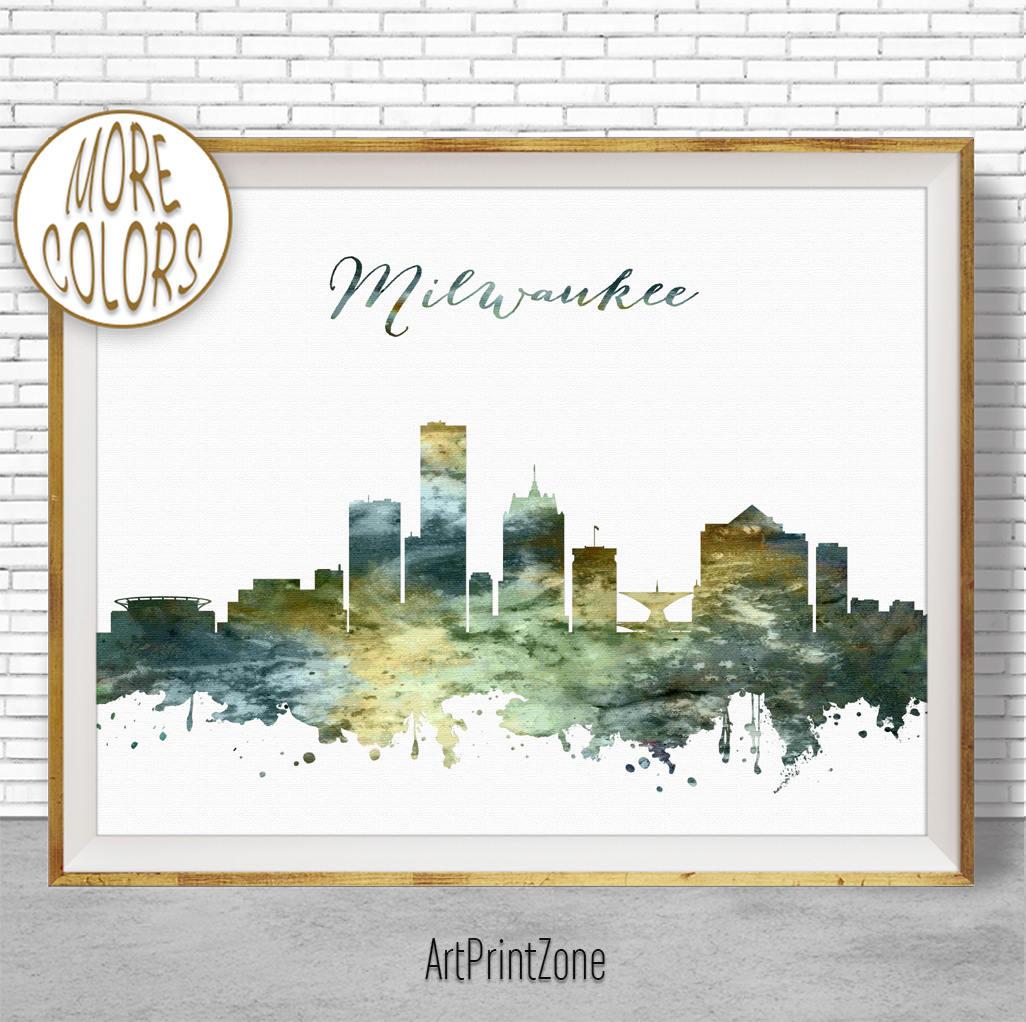 Broadstone Skyline Houston Tx: Milwaukee Print Milwaukee Skyline Milwaukee Wisconsin