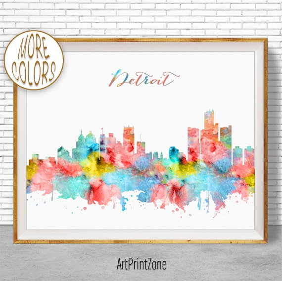 Detroit Michigan Watercolor Skyline Wall Art Home Decor Poster UNFRAMED