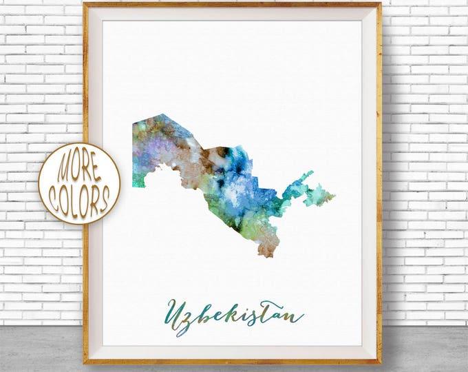 Uzbekistan Map Decor Uzbekistan Print Uzbekistan Art Print Watercolor Print Wall Art Prints ArtPrintZone