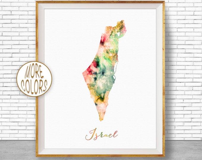 Israel Print Israel Map Art Watercolor Map Map Painting Map Artwork  Office Decorations Country Map ArtPrintZone