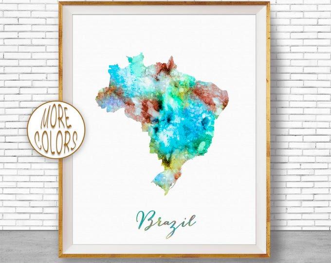 Brazil Map Brazil Art Brazil Print Office Art Print Watercolor Map Art Map Artwork Office Decorations Country Map ArtPrintZone