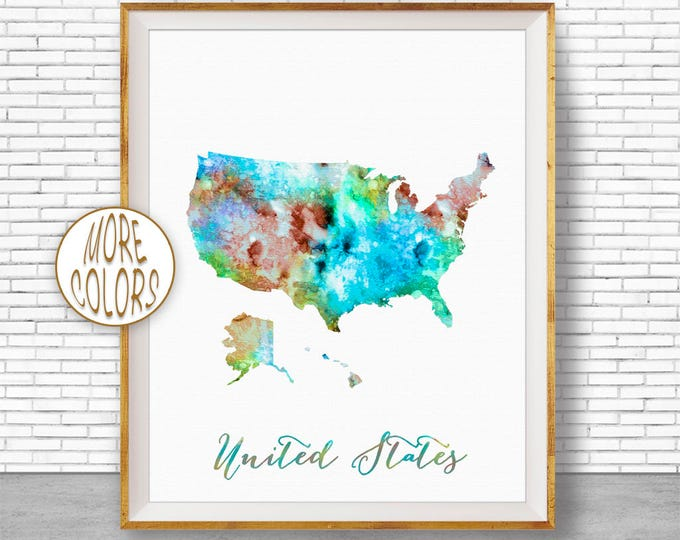 United States Map USA Decor Map of USA Map Art Print Office Print Map Print Map Poster Watercolor Map Office Poster Office Art ArtPrintZone