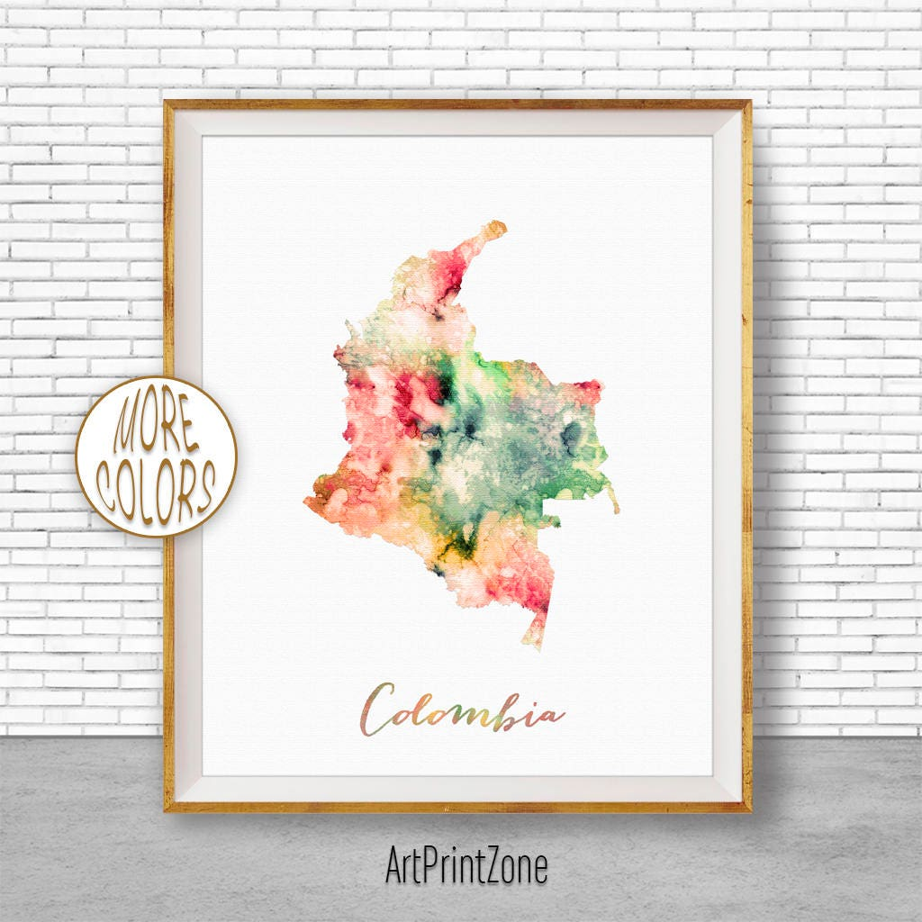 Colombia Map Print Colombia Print Office Art Print Watercolor Map