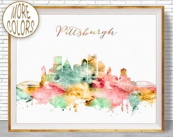 Pittsburgh Art Pittsburgh Skyline Pittsburgh Pennsylvania Office Decor City Skyline Prints Office Poster ArtPrintZone