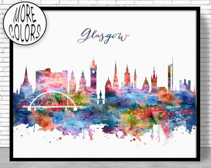 Glasgow Print, Glasgow Skyline, Glasgow Scotland, Office Decor, Office Wall Art, Watercolor Skyline, Watercolor City Print, ArtPrintZone