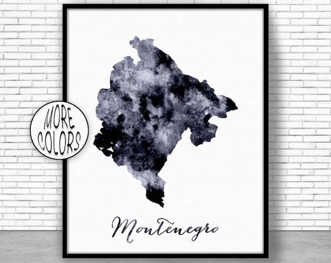 Montenegro Print Watercolor Map Montenegro Map Art Map Painting Map Artwork  Office Decorations Country Map ArtPrintZone