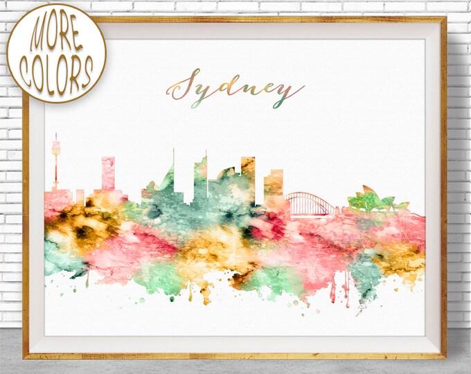 Sydney Print Sydney Australia Sydney Skyline Office Decor City Skyline Prints City Skyline Art Office Wall Art ArtPrintZoneGift for Women