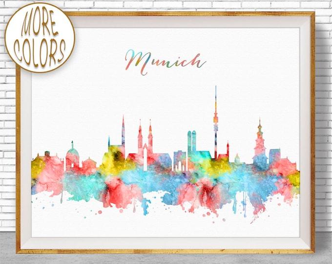 Munich Print, Munich Skyline, Munich Germany, Office Decor, Office Art, Watercolor Skyline, Watercolor City Print, ArtPrintZone