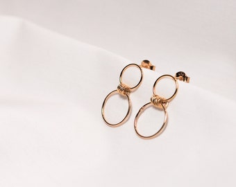 Hasu Earrings. Silver earrings. Earrings with hoops. Silver hoops.