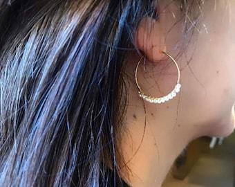 Maggie Pearl Earrings. Hoop earrings. Balinese hoops. Hoops and pearls. Silver earring. Silver hoops. Earrings with pearls.