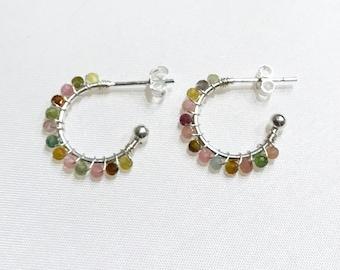 Petra Tourmaline Earrings.Hoop Earrings. Silver earrings. Earrings with minerals. Tourmaline and silver. Open hoops