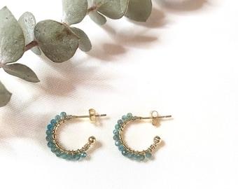 Earrings Petra Apatita. Earrings hoop. Silver earrings. Earrings with pearls. Apatite and silver. Open hoops. minerals