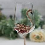 Pink Flamingo Party Wine Glass, Bling Wine Glass, Flamingo Party Decor, Bridal Shower Decorations Flamingo, Bride and Groom Flamingo Wedding