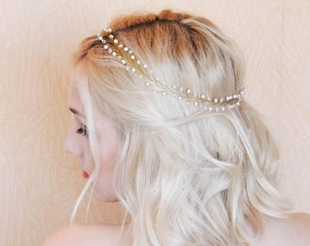 Bridal Hair Vine Wedding Hair Vine Bridal Hair Halo Delicate Gold Headband Pearl Hair Vine Boho Hair Vine Wedding hair piece crystal  vine