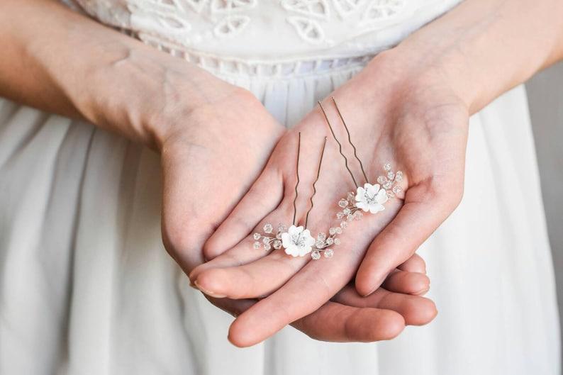 Bridal hair comb Wedding accessories Bridal pins Hair pin Flower hair pins Bridal hair pin Bridal headpiece Hairpiece Floral hair pin