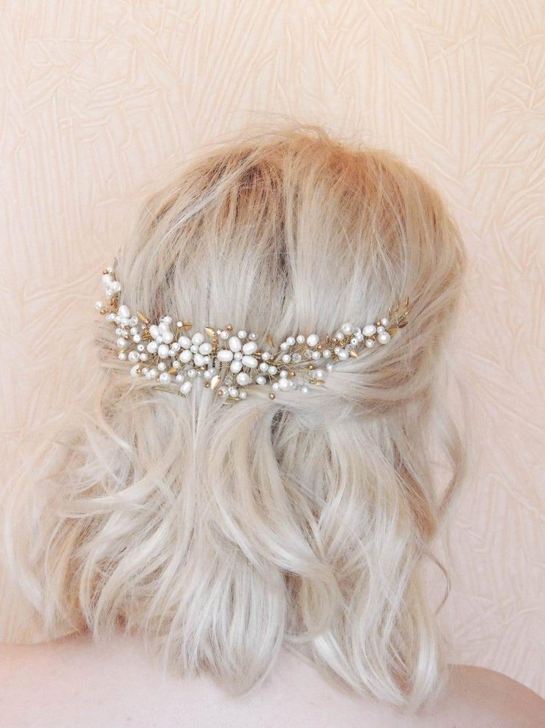 Boho Bridal Back Headpiece Bridal hair piece Bohemian headpiece Bridal Hair Swag Pearl Headband Wedding Headpiece Gold leaf  Leaf headpiece