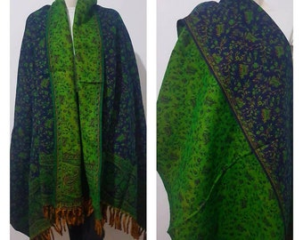 Real yak wool shawl/himalayan made green COLOUR paisley floral print ethnic DOUBLE sided scarf/wrap/blanket,High quality gift for her
