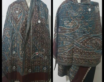 HANDMADE Pure kasmiri wool handmade blue/maroon scarf/shawl/with paisley and diamonte details high quality LIMITED EDITION scarf/shawl