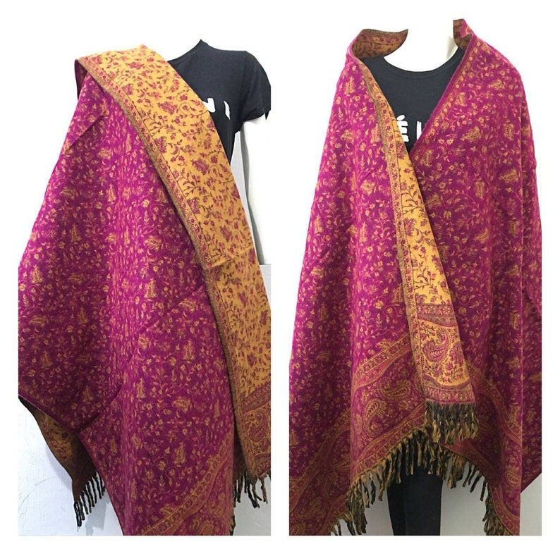 yak Wool shawl blue pink colour floral reversable SCARF,UNISEX,BLANKET xmas gift