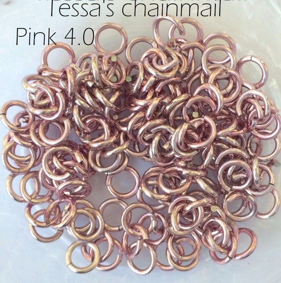 PINK Anodized Aluminum JUMP RINGS 200 3//8 16g SAW CUT Chainmail chain mail