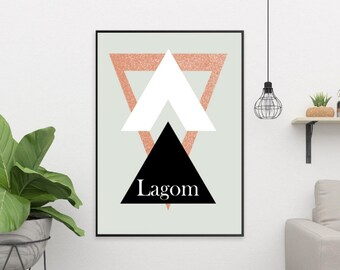 Lagom Triangles Design Scandinavian Swedish Style Hygge Print Nordic Rose Gold