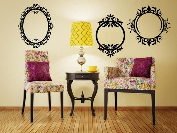 Set Of 3 Stylish Vintage Frames Picture Mounts Removable Wall Stickers High  Quality Decal Many Colours