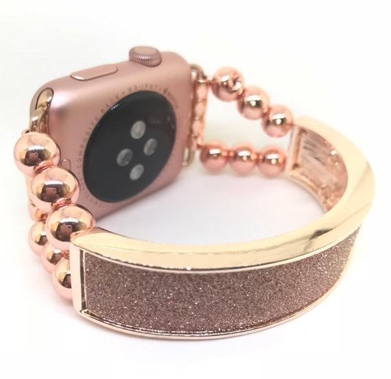 a64703d234 Womens Rose Gold Apple Watch Band Strap Crystal Druzy Sparkle Glitter Apple  Watch Bracelet 38mm 40mm 42mm 44mm Apple Watch Accessory Thin