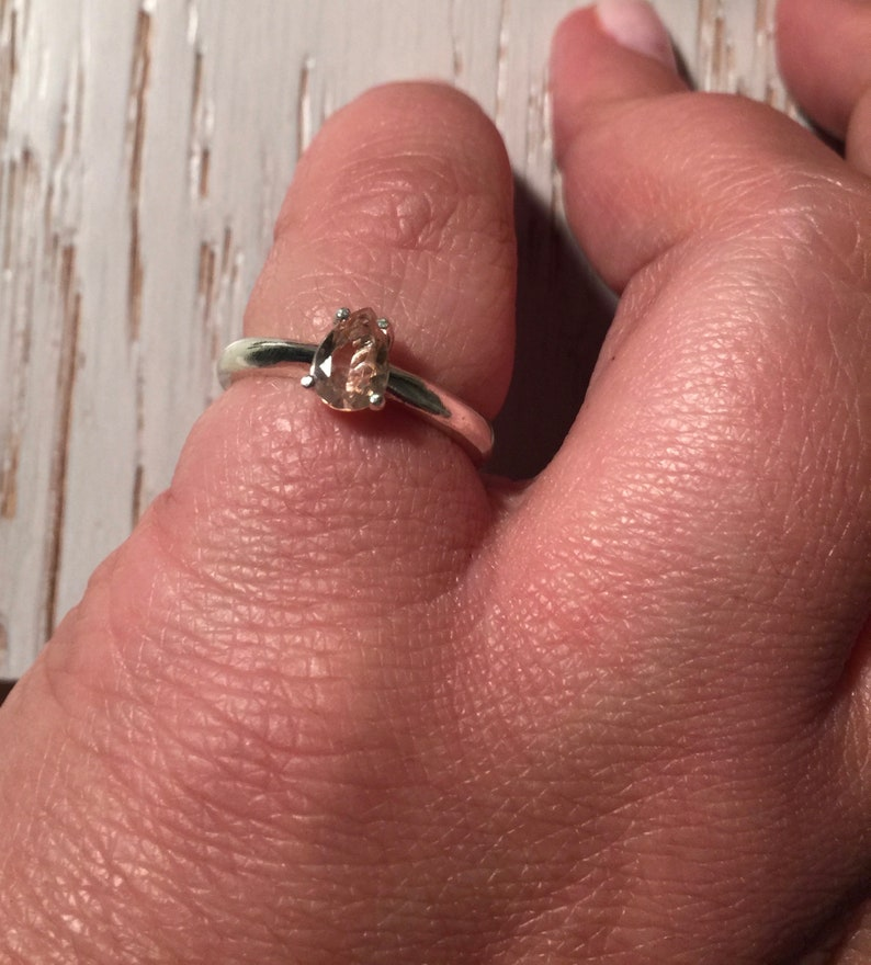 Morganite Ring Natural Pear Shape Morganite Sterling Silver Ring Sterling Silver Ring Minimal. Natural Light Pink Peach Morganite Ring