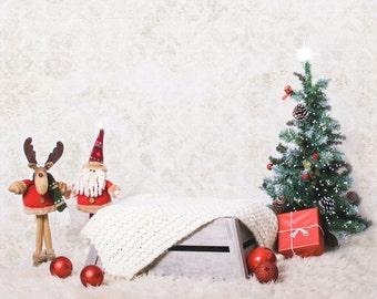 Christmas tree digital vintage backdrop