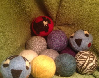 100% Natural Wool Dryer Balls with or with out designs! Handmade, Needle felted, All wool from right here in NH!